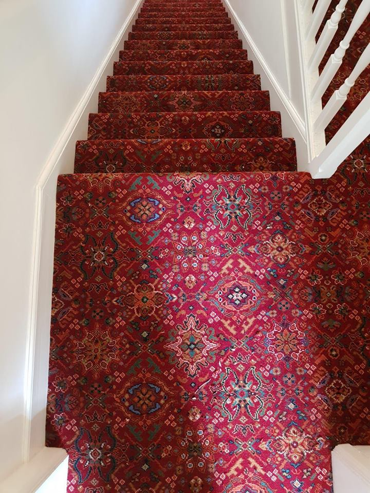 red pattern stairs