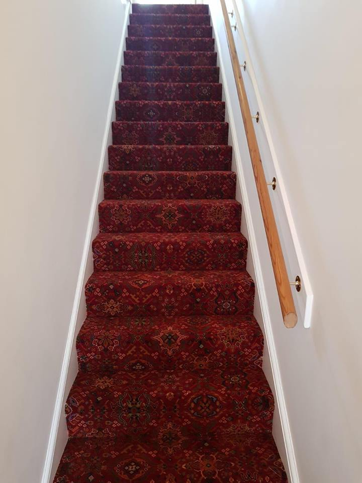 red pattern staircase